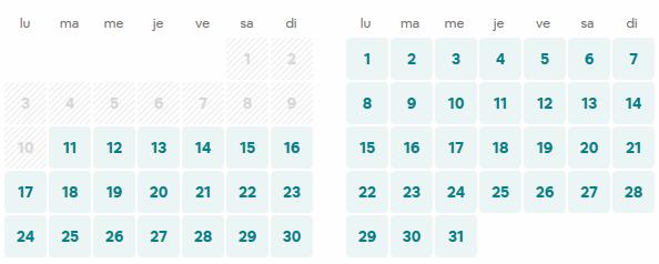 calendrier sur airbnb du cottage de l'art de bien-etre